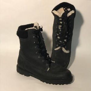 Eddie Bauer 9 Black Leather Shearling boots shoe